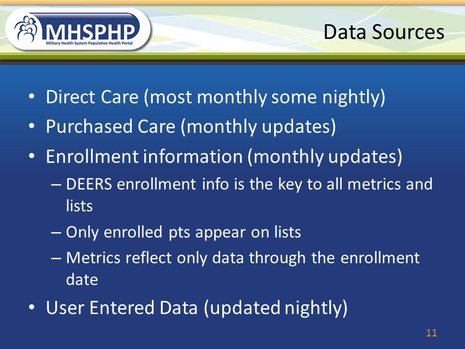 Data Sources Direct Care (most monthly some nightly)