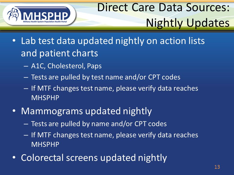 Direct Care Data Sources: Nightly Updates