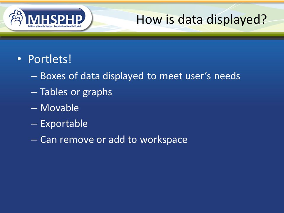 How is data displayed Portlets!