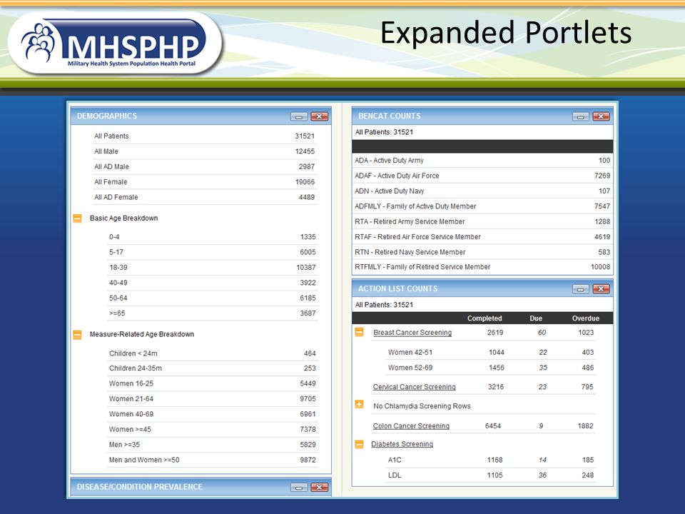 Expanded Portlets Expanded demographics and action list counts.