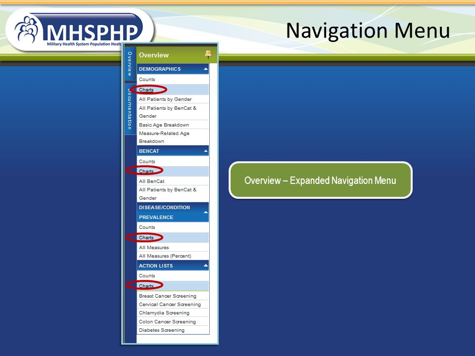 Overview – Expanded Navigation Menu