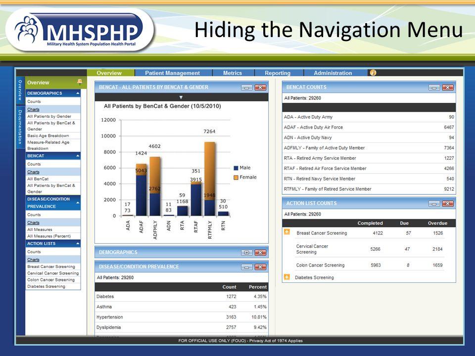 Hiding the Navigation Menu
