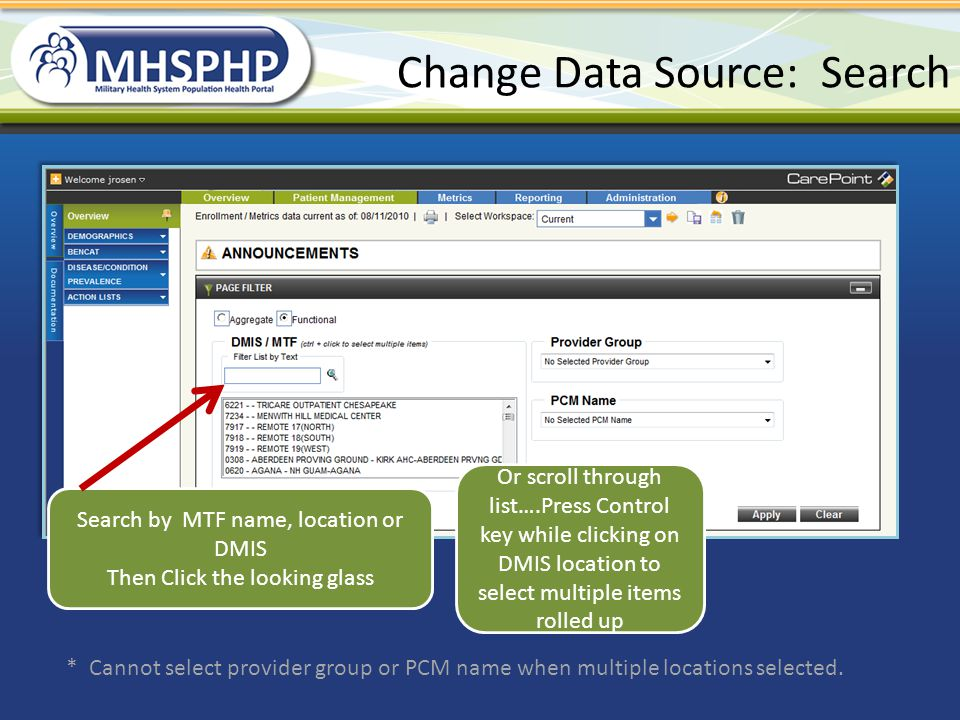 Change Data Source: Search