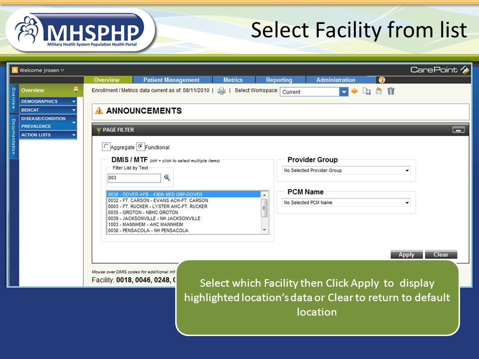 Select Facility from list