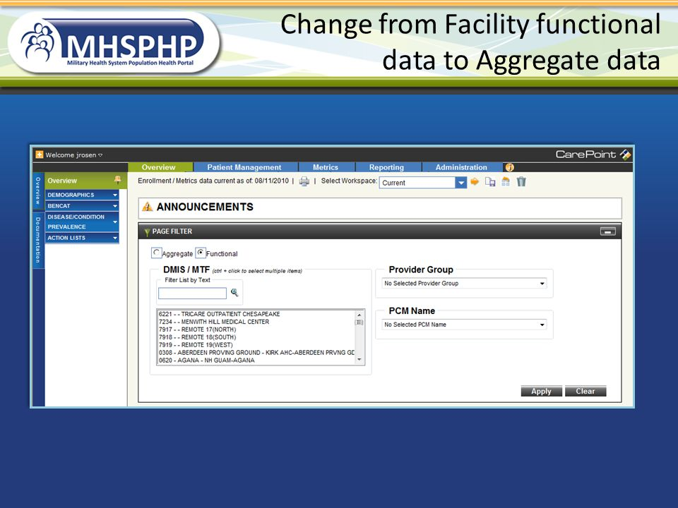 Change from Facility functional data to Aggregate data