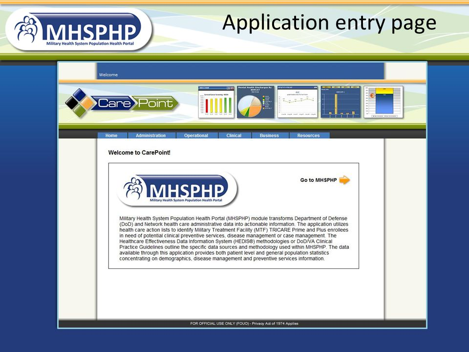 Application entry page