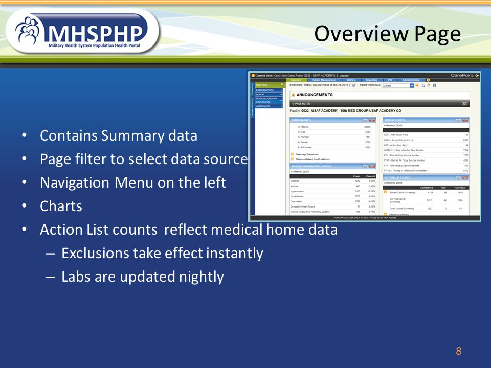 Overview Page Contains Summary data Page filter to select data source