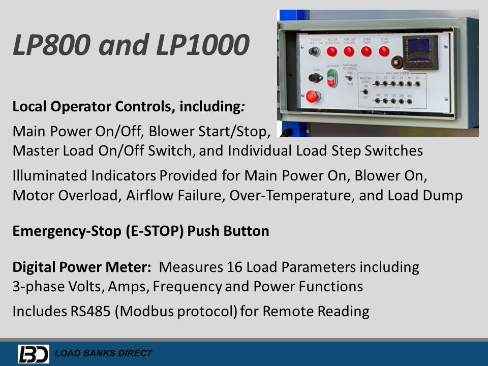 LP800 and LP1000 Local Operator Controls, including: