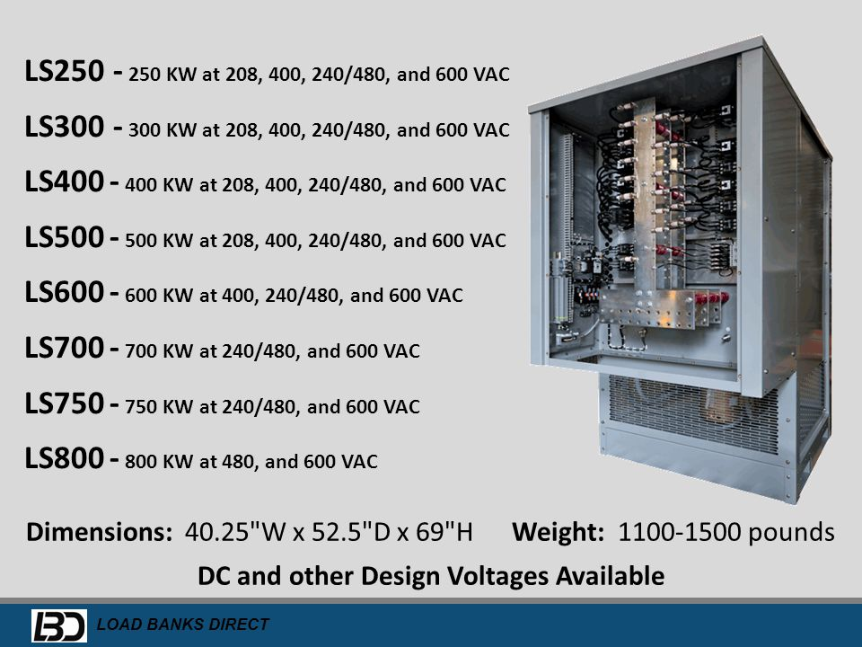 DC and other Design Voltages Available
