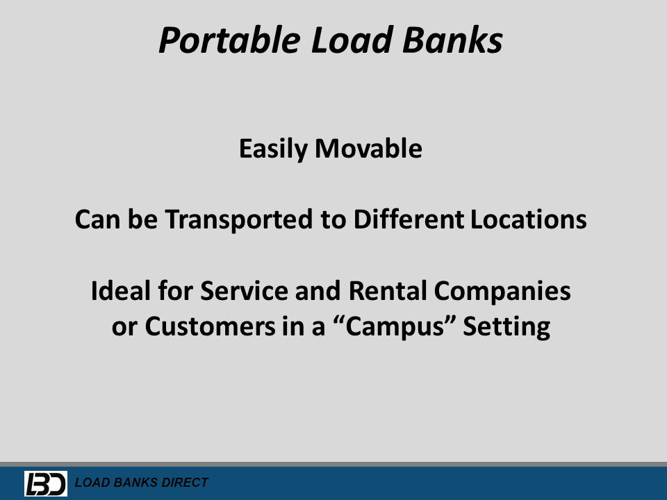 Portable Load Banks Easily Movable