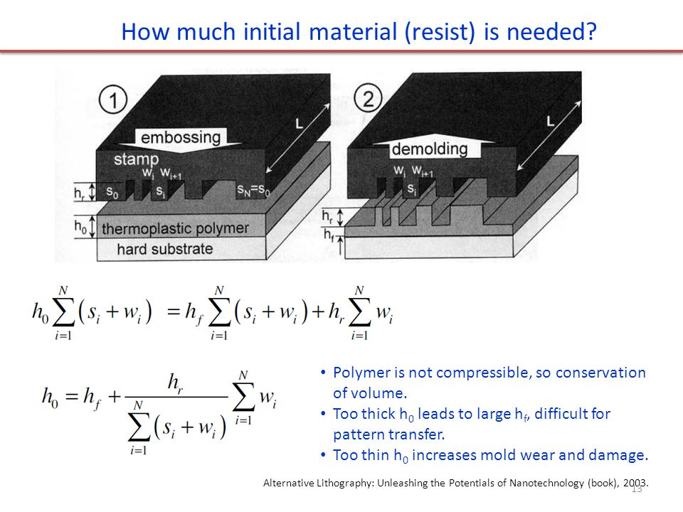 How much initial material (resist) is needed