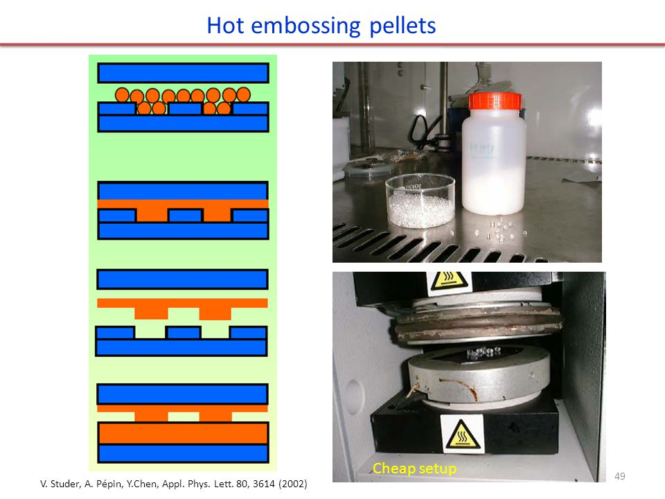 Hot embossing pellets Cheap setup