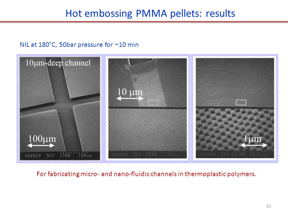 Hot embossing PMMA pellets: results