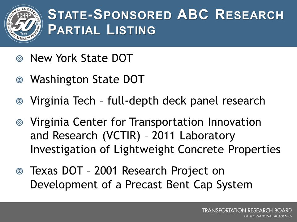 State-Sponsored ABC Research Partial Listing
