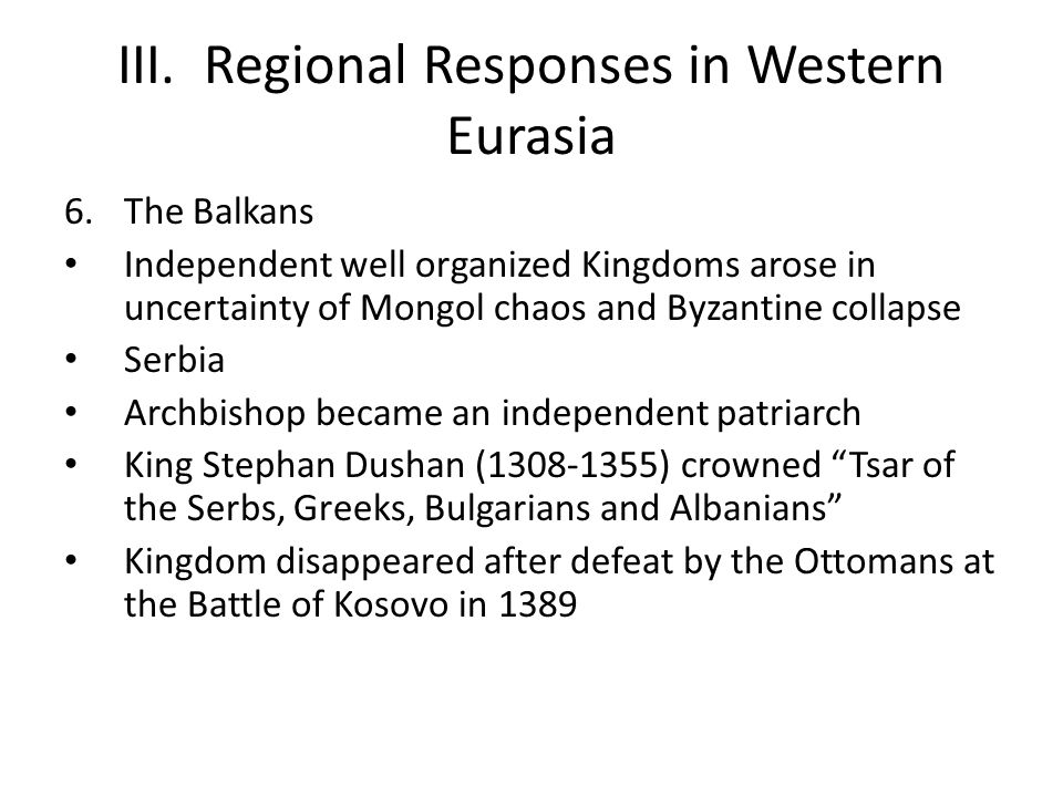 III. Regional Responses in Western Eurasia
