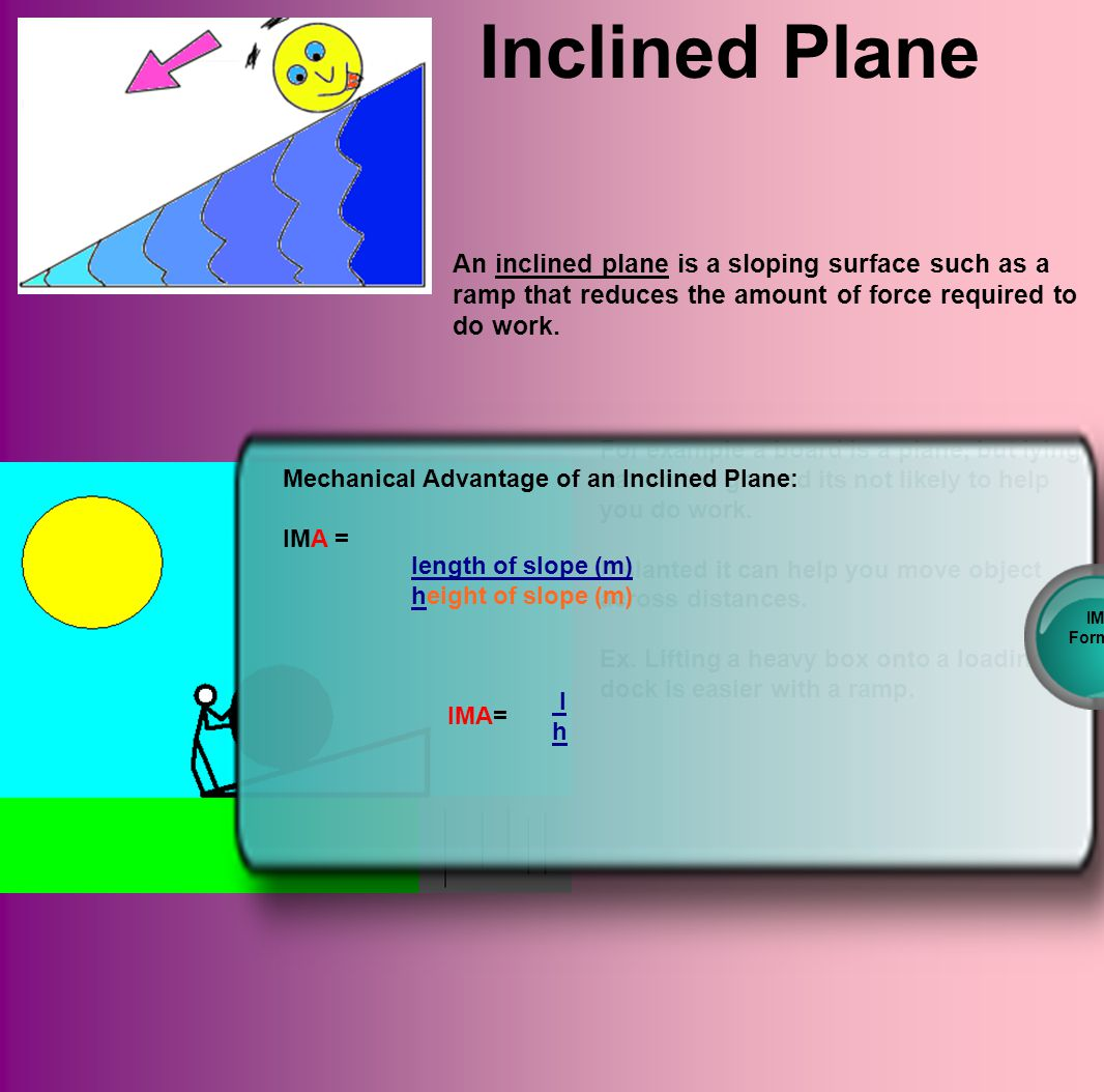Inclined Plane An inclined plane is a sloping surface such as a ramp that reduces the amount of force required to do work.