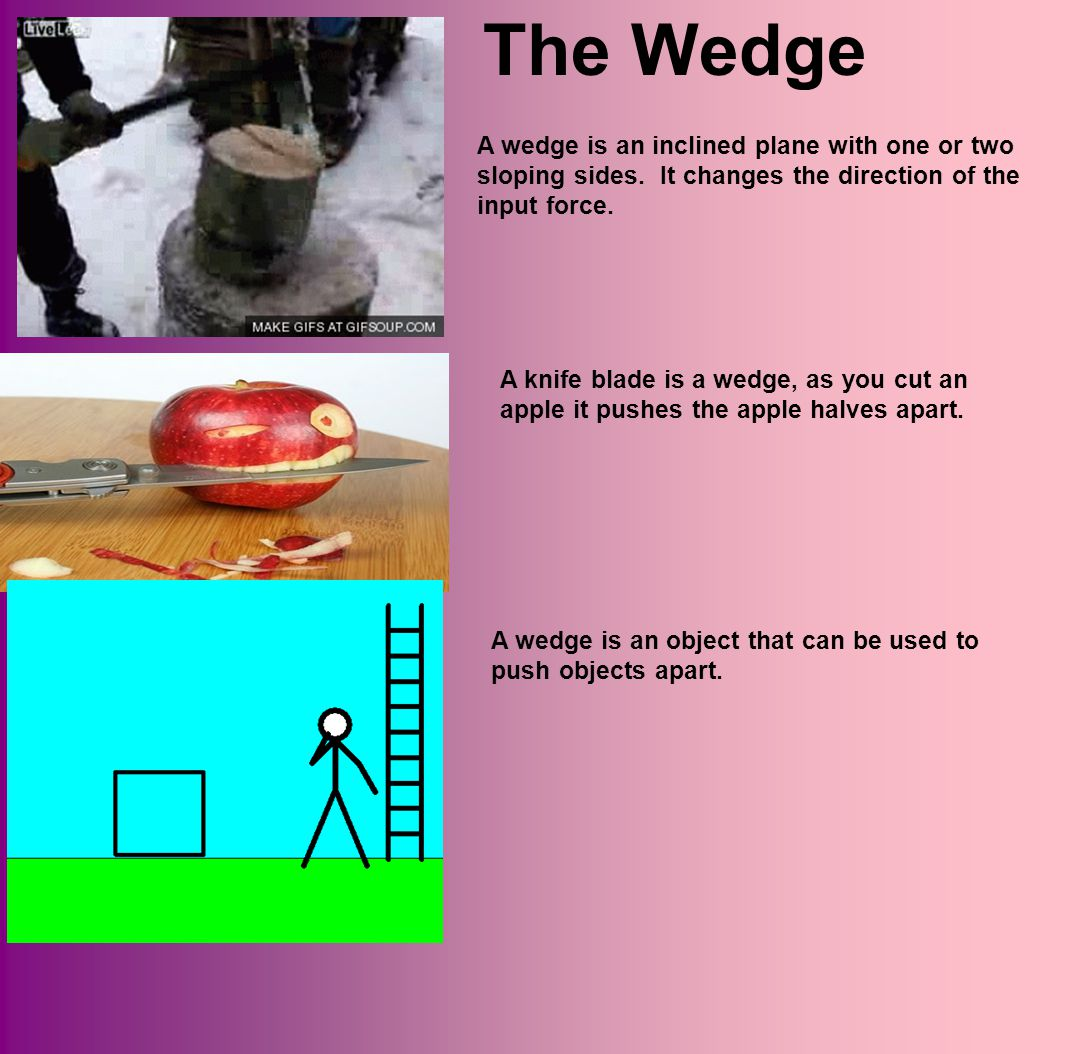 The Wedge A wedge is an inclined plane with one or two sloping sides. It changes the direction of the input force.