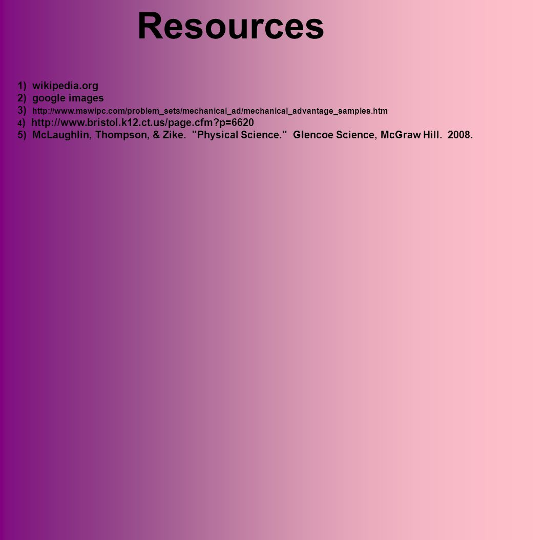 Resources 1) wikipedia.org 2) google images