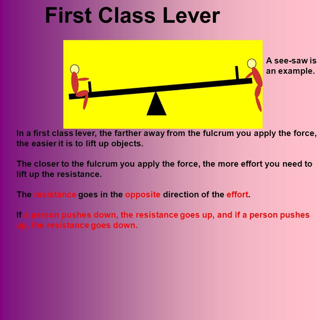 First Class Lever A see-saw is an example.