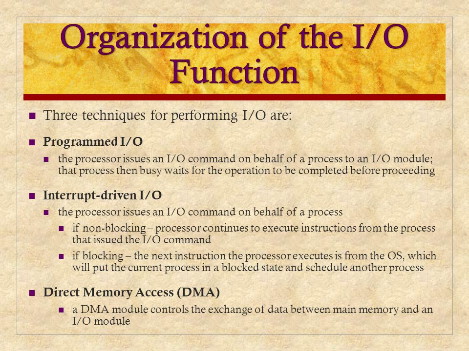 Organization of the I/O Function