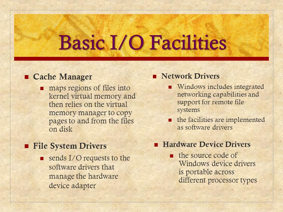 Basic I/O Facilities Cache Manager File System Drivers Network Drivers