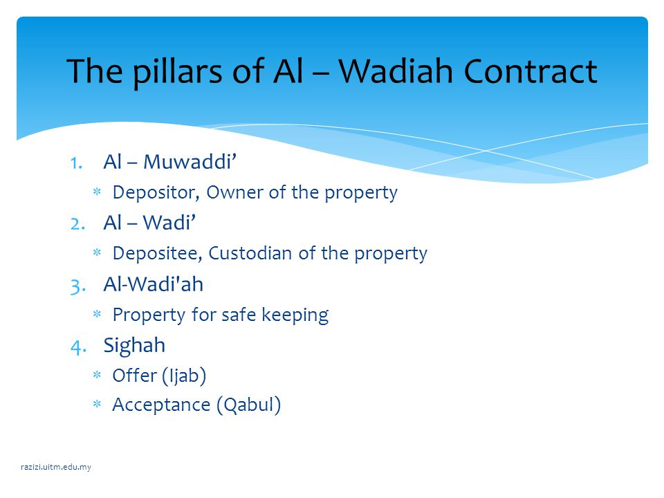 The pillars of Al – Wadiah Contract