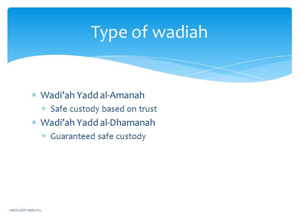 Type of wadiah Wadi'ah Yadd al-Amanah Wadi'ah Yadd al-Dhamanah