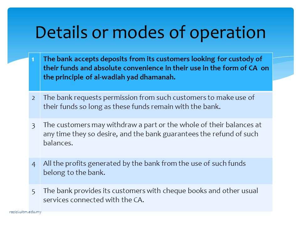 Details or modes of operation