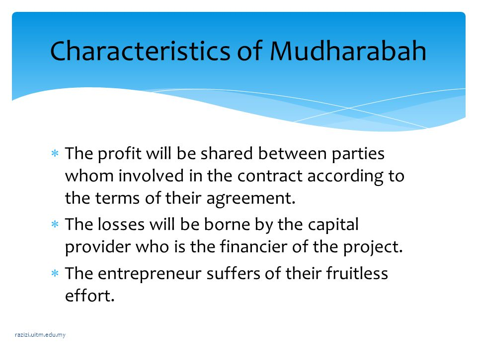 Characteristics of Mudharabah