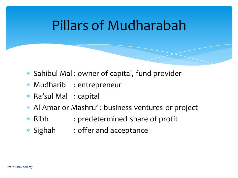 Pillars of Mudharabah Sahibul Mal : owner of capital, fund provider