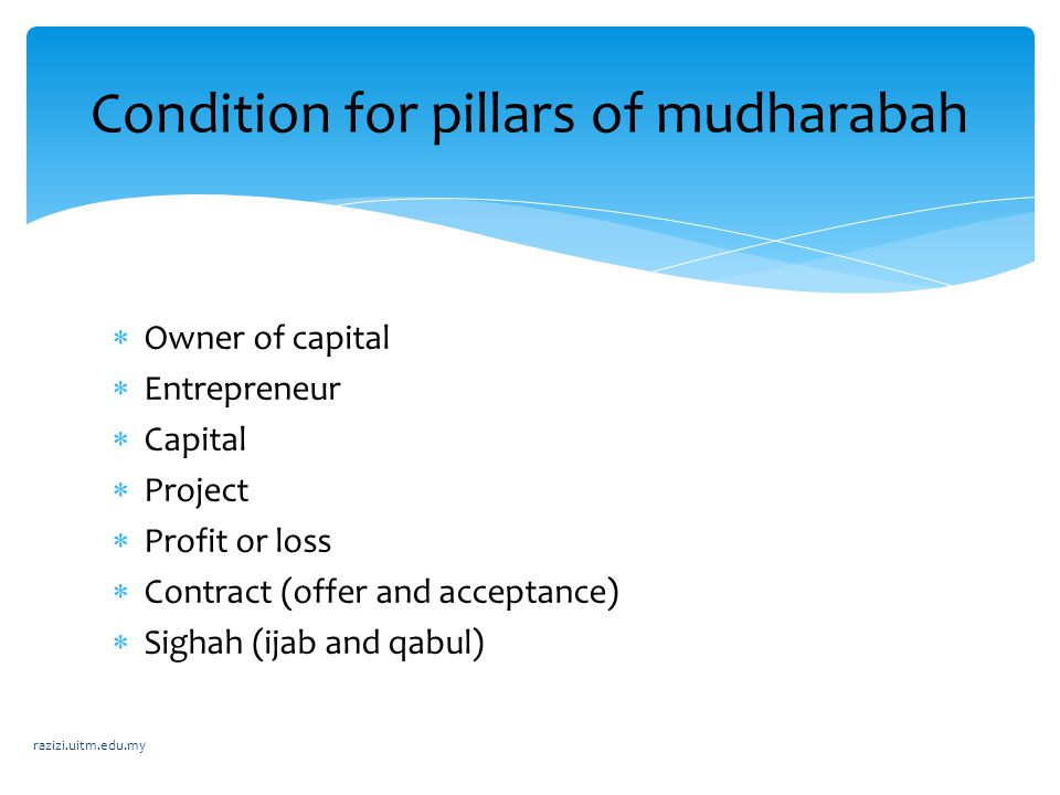 Condition for pillars of mudharabah