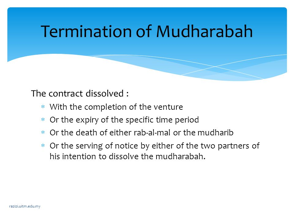 Termination of Mudharabah