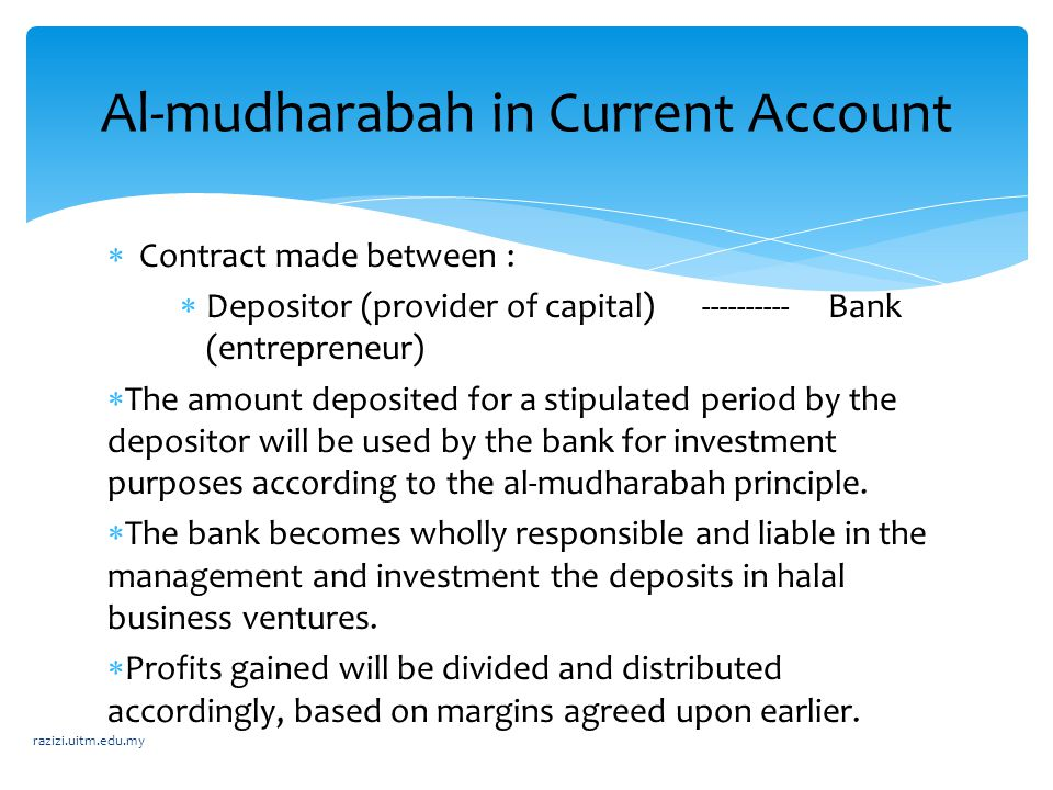 Al-mudharabah in Current Account