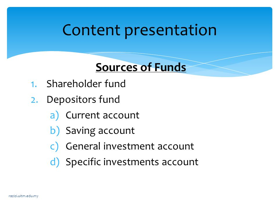 Content presentation Sources of Funds Shareholder fund Depositors fund