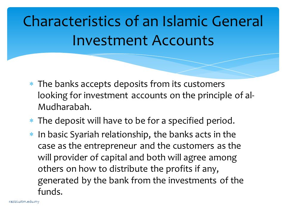 Characteristics of an Islamic General Investment Accounts