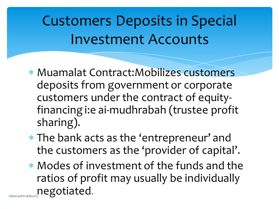 Customers Deposits in Special Investment Accounts