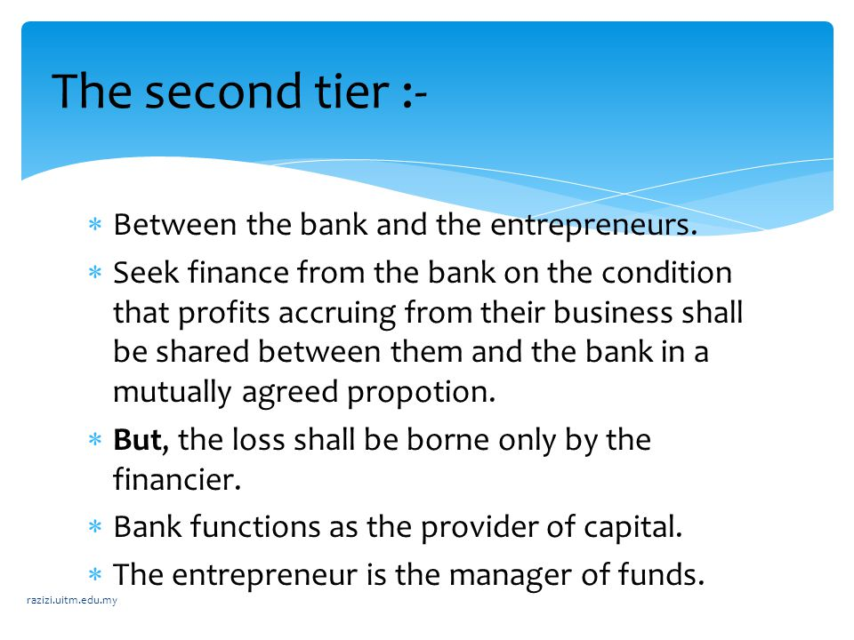 The second tier :- Between the bank and the entrepreneurs.