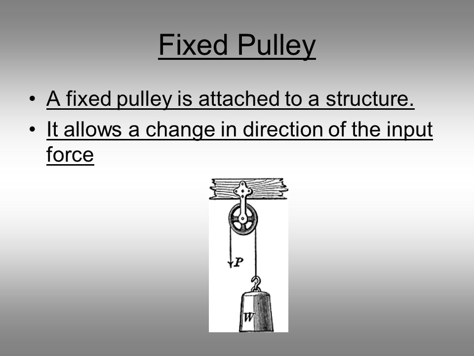 Fixed Pulley A fixed pulley is attached to a structure.