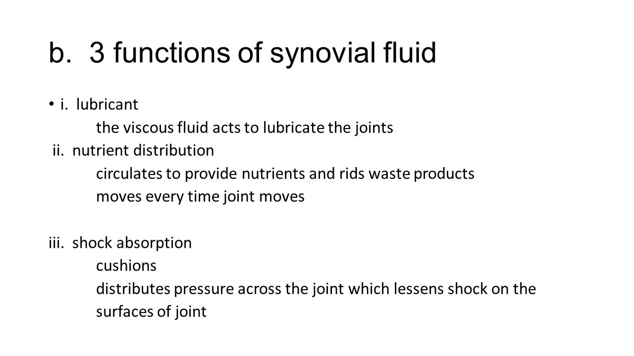 b. 3 functions of synovial fluid