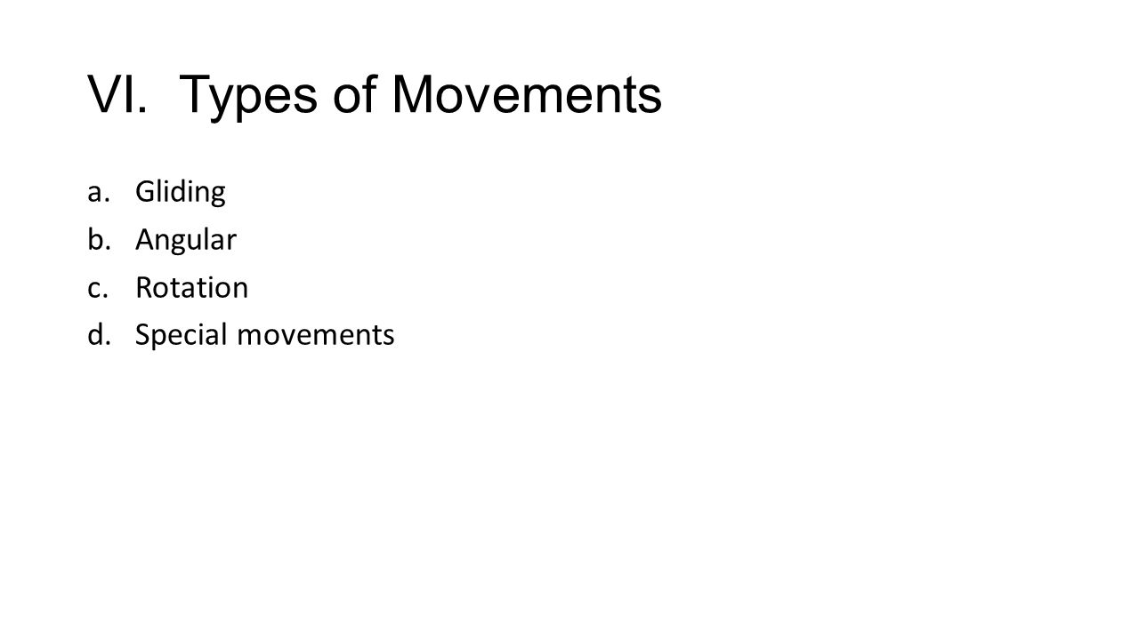 VI. Types of Movements Gliding Angular Rotation Special movements