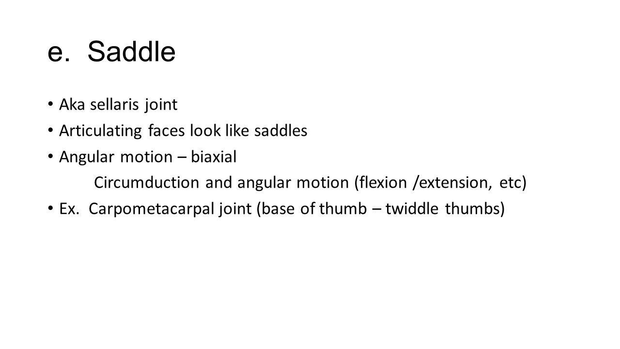 e. Saddle Aka sellaris joint Articulating faces look like saddles