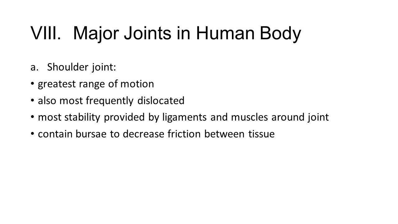 VIII. Major Joints in Human Body