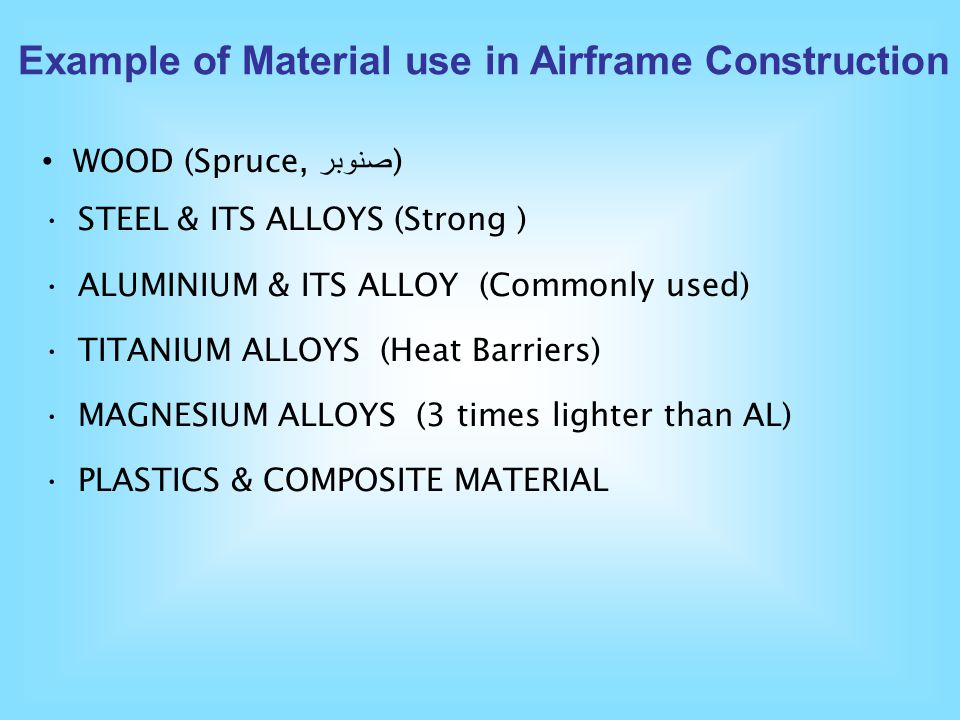 Example of Material use in Airframe Construction