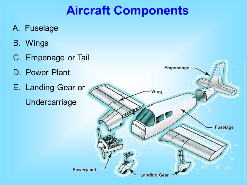 Aircraft Components A. Fuselage B. Wings C. Empenage or Tail