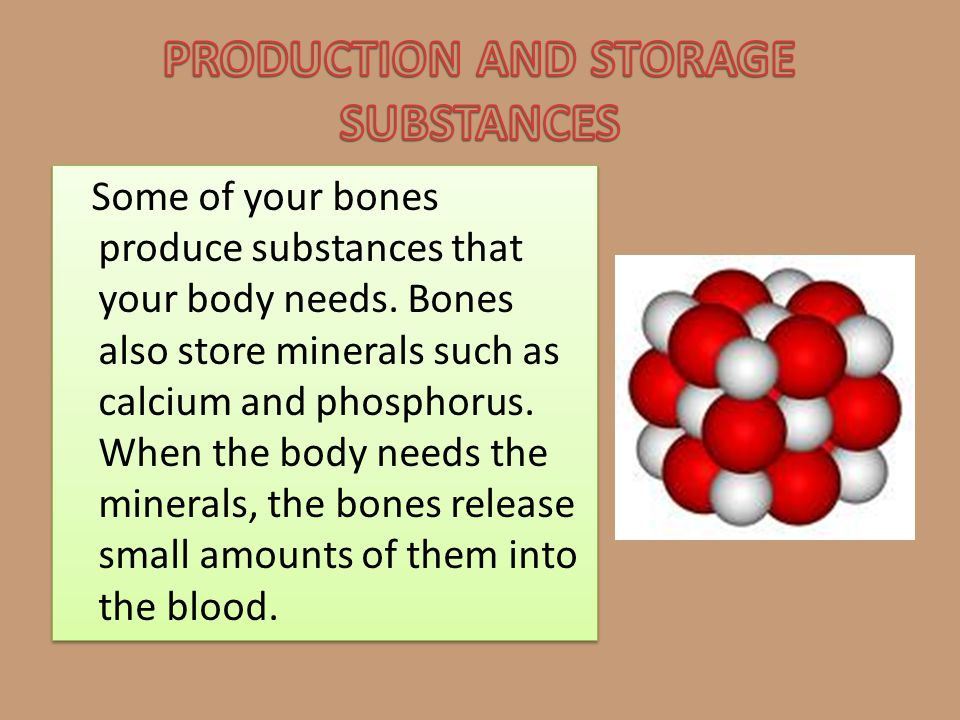 PRODUCTION AND STORAGE SUBSTANCES