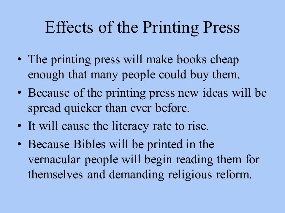 Effects of the Printing Press
