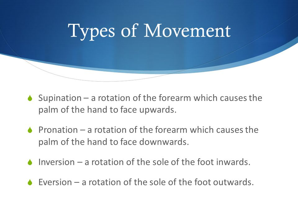Types of Movement Supination – a rotation of the forearm which causes the palm of the hand to face upwards.