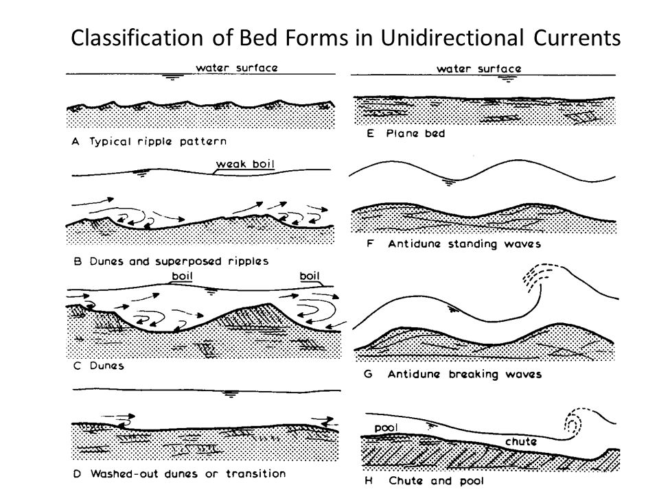 Classification of Bed Forms in Unidirectional Currents