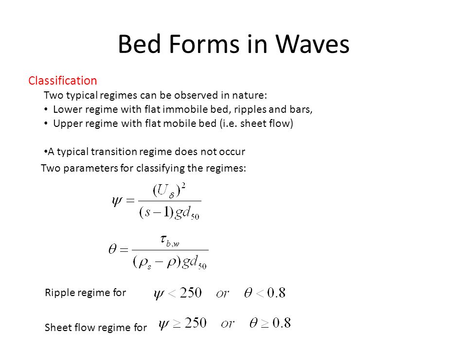 Bed Forms in Waves Classification
