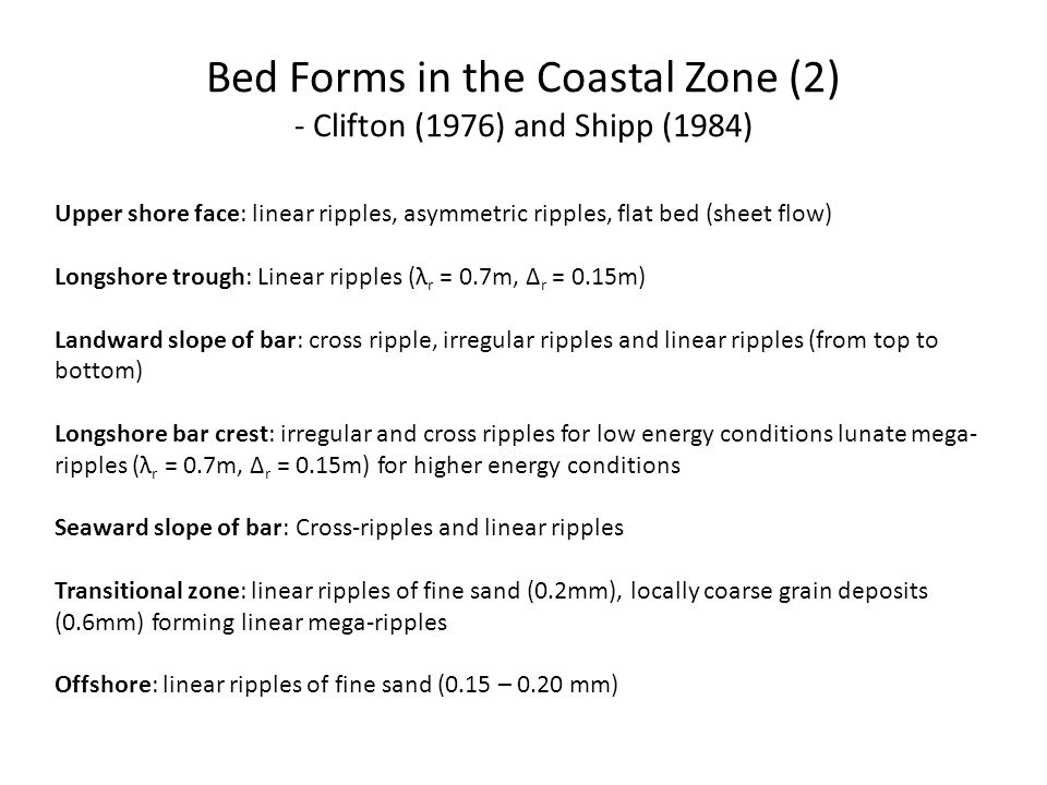 Bed Forms in the Coastal Zone (2) - Clifton (1976) and Shipp (1984)